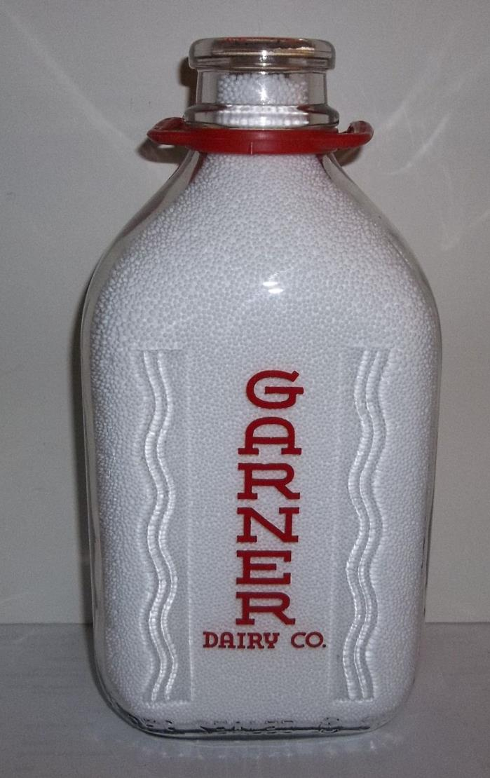 Garner Dairy Co Uniontown PA. Red Pyro Two Quart The Modern King Size Bottle