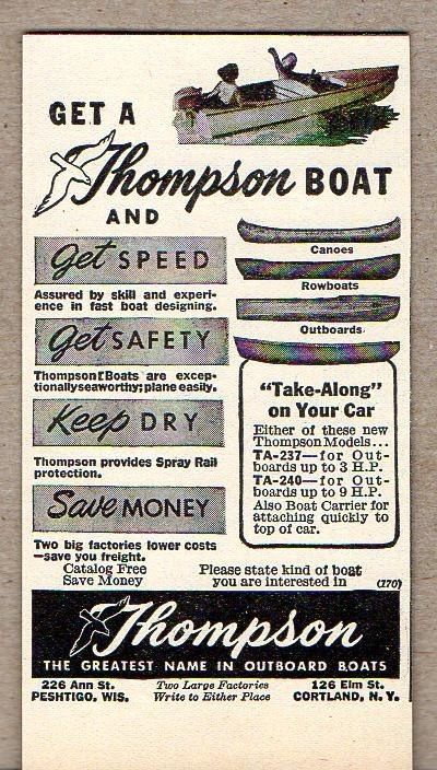 1950 Print Ad Thompson Boats Row,Outboard,Canoe Boats