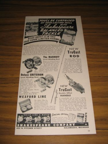 1938 Print Ad Shakespeare Marhoff,Criterion Fishing Reels TruCast Rods Kalamazoo
