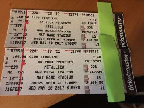 Metallica- 2 Tickets Baltimore 5/10/2017 Sec 228