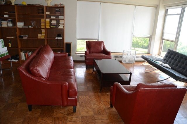 Sofa and two chairs in red Italian leather