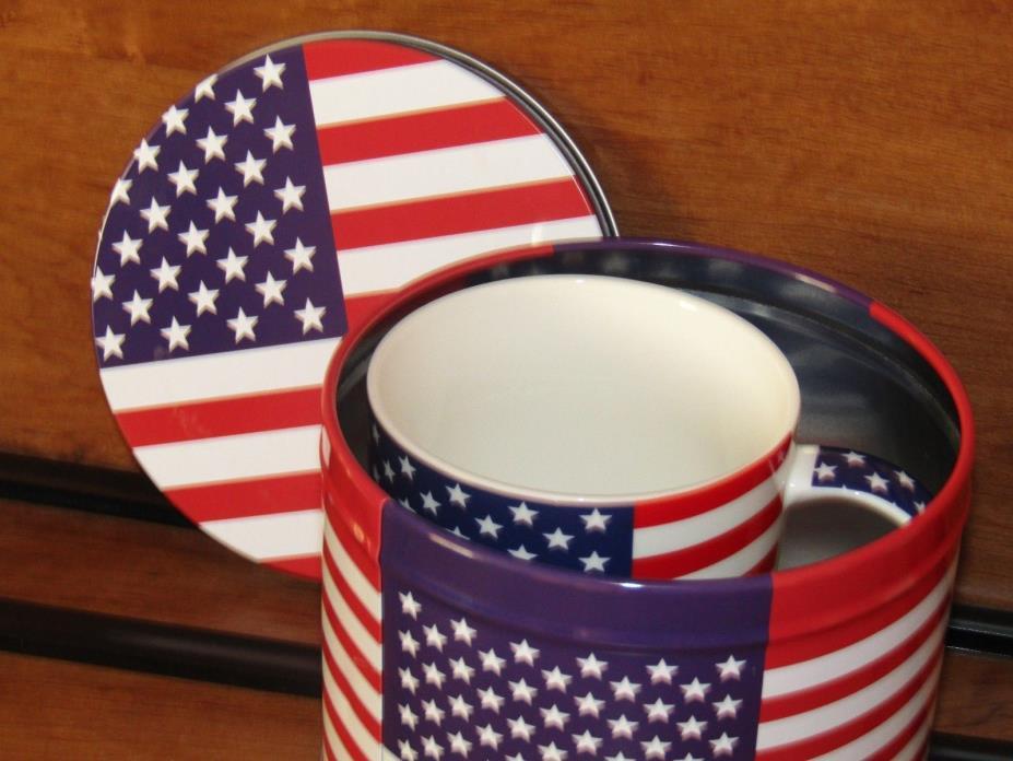 Patriotic ~ American Flag ~ Coffee/ Tea/ Hot Chocolate Mug & Tin ~ NEW! NICE!