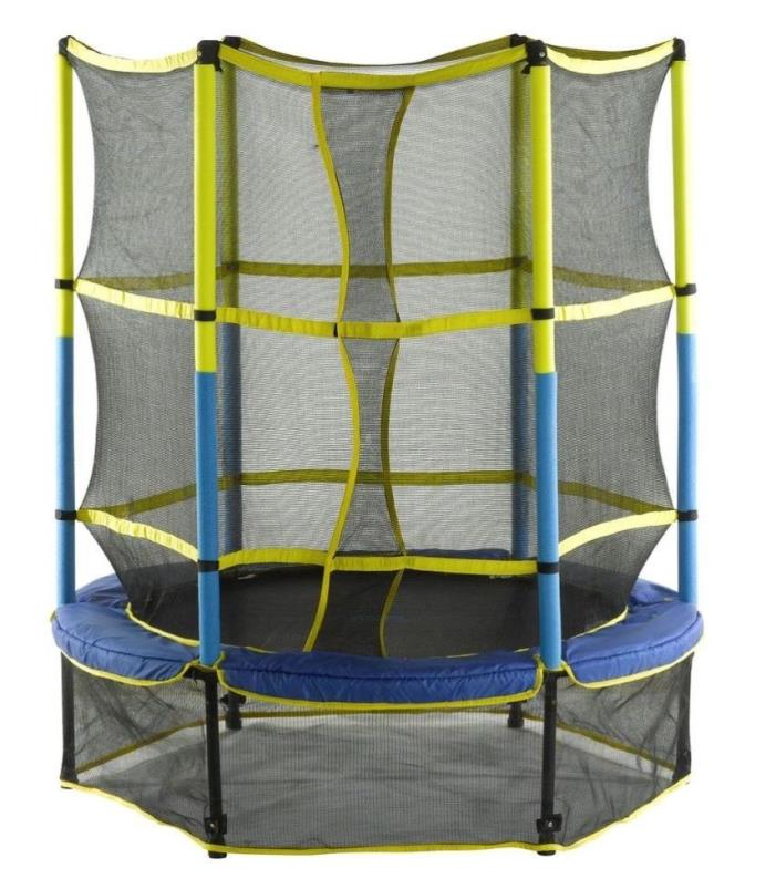 55in. Kid-Friendly Jump Trampoline and Enclosure w Safety Net Pad Easy Assembly
