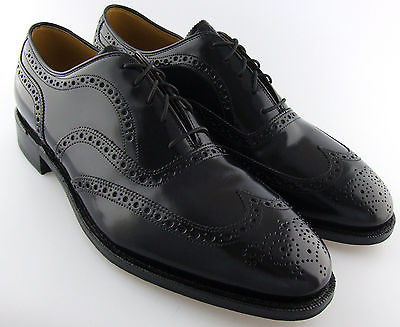 248555 MS50 Men's Shoes Size 9B Black Glossy Leather Lace Up Johnston Murphy