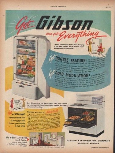 1949 GIBSON REFRIGERATOR OVEN STOVE KITCHEN GREENVILLE 9590