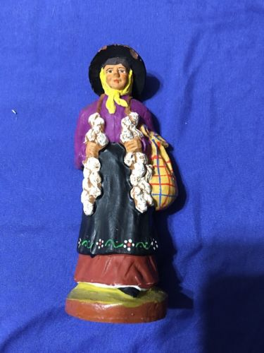 Paul Fouque Clay Figure Lady Carrying Garlic