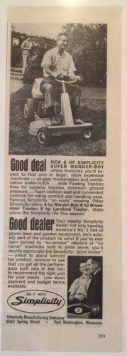 1965 Simplicity Wonder Boy 401 Rider Mower Garden Tractor Lawn Dealer Photo Ad