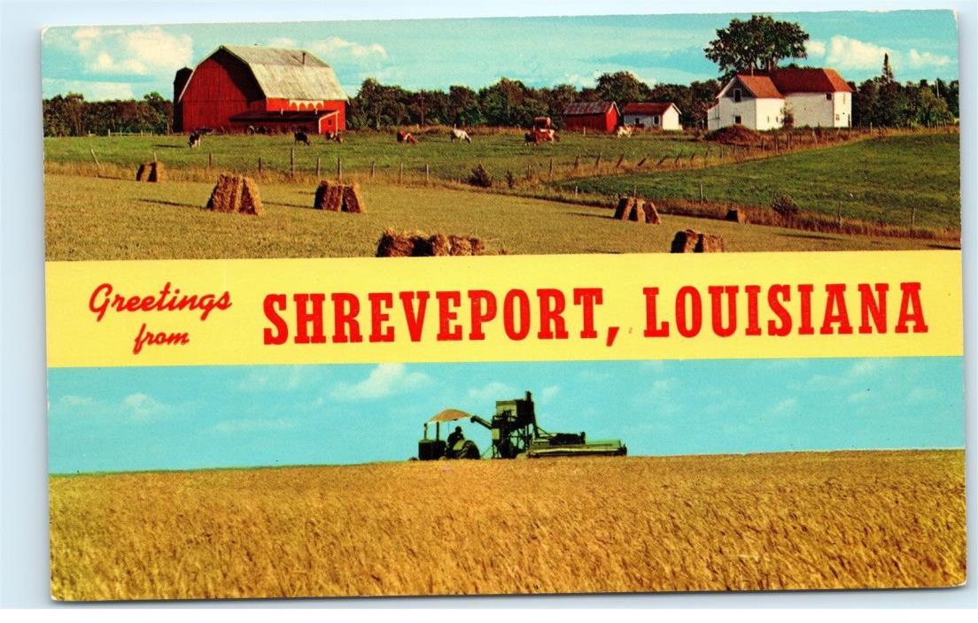 Barn Farm Hay Greetings from Shreveport Louisiana LA Vintage Postcard B28