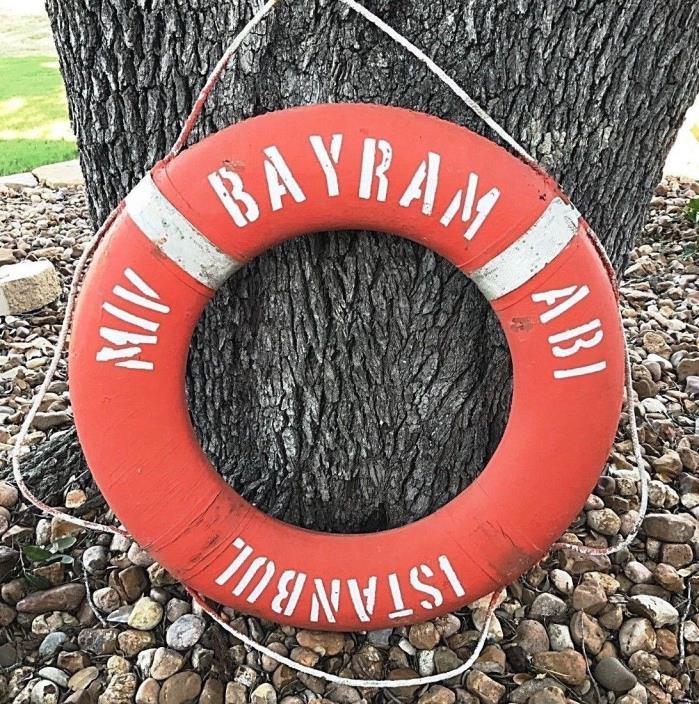 Vtg Merchant Vessel Ship Boat Life Preserver Bouy Ring MV BAYRAM ABI ISTANBUL