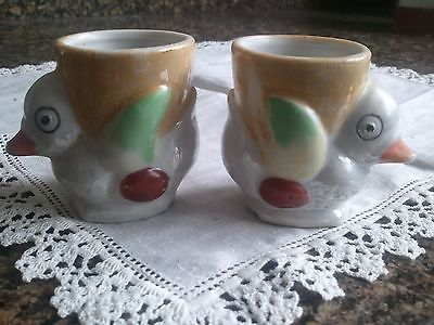 Vintage Luster Duck Birds Egg Cups Japan ~ Cute Pair