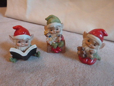 3 VINTAGE Mid Century HOMCO Home Interiors Christmas Elves Elf Figurines 4