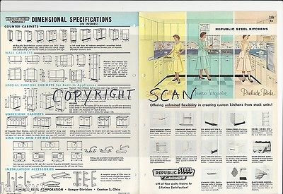 1957 REPUBLIC Steel KITCHEN Cabinets Yellow PINK Turquoise Mid Century Catalog