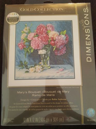 Counted Cross Stitch Kit MARY'S BOUQUET Dimensions Gold Collection