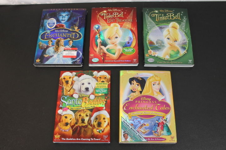 Lot of 5 NEW DISNEY DVDs With Slip Covers - Tinkerbell, Princess, Enchanted