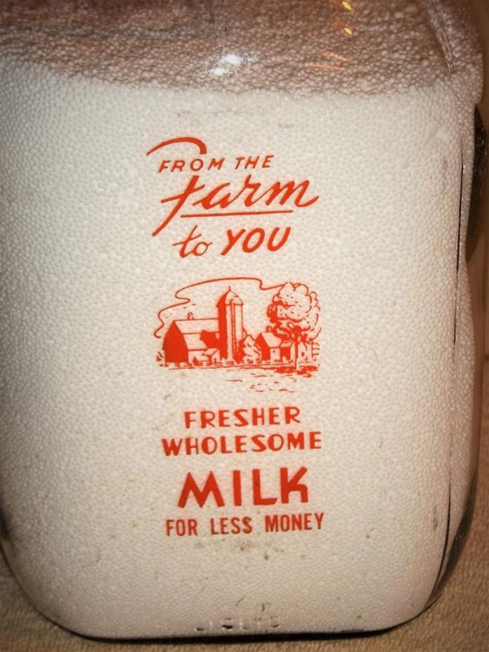 HERITAGE'S 1 GALLON MILK BOTTLE ~ 1969 ~ THOROFARE, N. J.~ FARM SCENE