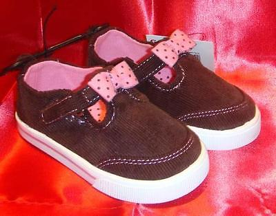 Mary Jane T Strap Girl Toddler Size 5 GARANIMALS Brown Corduroy Tennis Shoes~NEW