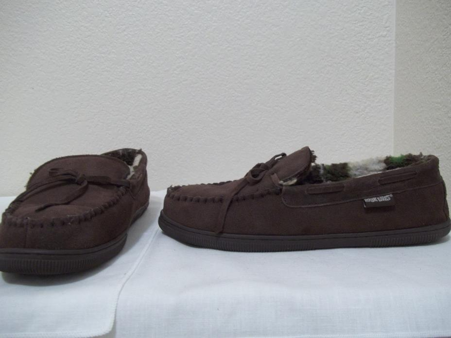MENS MUK LUKS BROWN SUEDE LEATHER  SLIPPERS SLIP ON LOAFERS SZ  13