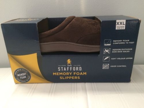 Stafford Memory Foam Brown Slip On Slippers Mens Size 13-14 Shoes XXL NIB New
