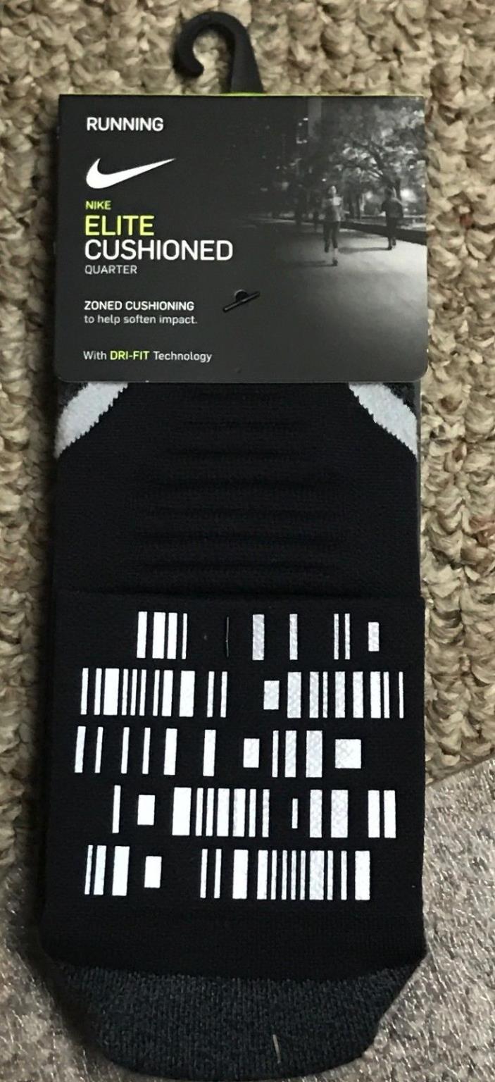 Nike Elite Cushioned Quarter Running Sock Reflective SZ L  SX5458 Men's 8-9.5