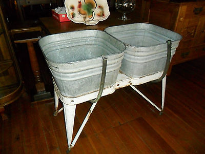 Galvanized Double Wash Tub Beer Cooler Plant Stand Mid West Kellogg Iowa Rare!