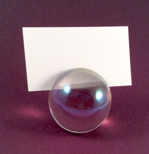Vintage Round Iridescent Color Glass Place Card Menu Holder