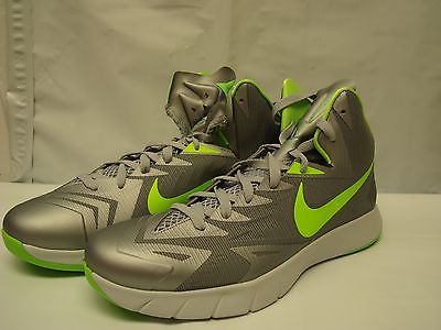 Nike Men's $140 Lunar Hyperquickness Basketball Shoes Wolf Grey / Green Us 12