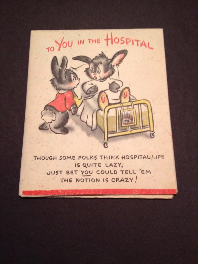 vintage greeting card getwell card hallmark card cute rabbits in hospital bed