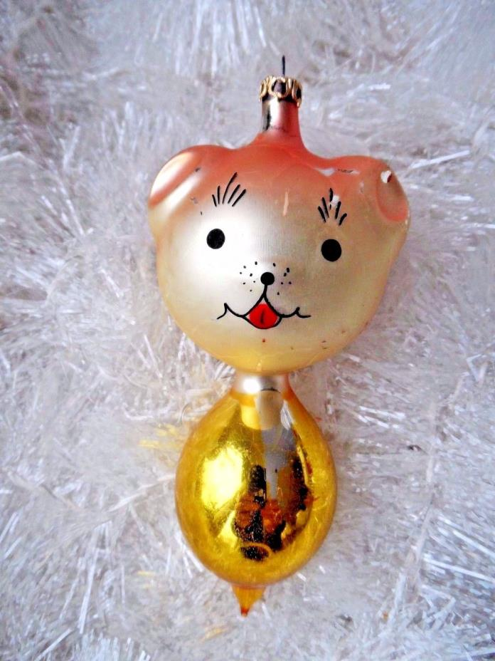 Vintage Mercury Glass Blown Christmas Ornament - BEAR 1960's COLOMBIA