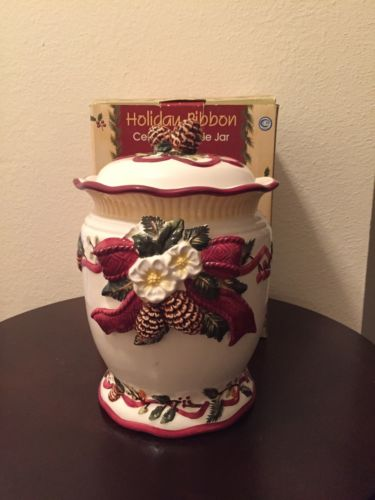 Holiday Ribbon Ceramic Cookie Jar
