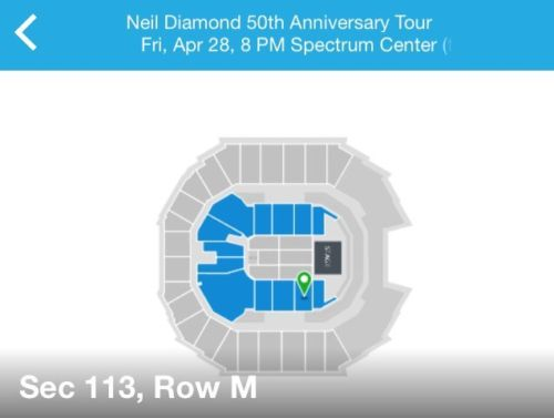 Neil Diamond 1 Concert Ticket April 28, 2017 at Spectrum Center, Charlotte, NC