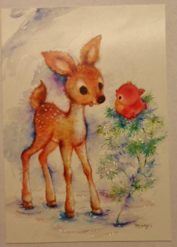 Vintage Mary Hamilton Card UNUSED Christmas Deer, Red Bird &  Glitter Pine Tree