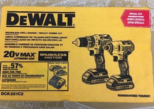 DeWalt DCK281C2 20V MAX* Li-Ion Brushless Compact Drill and Impact Driver Combo