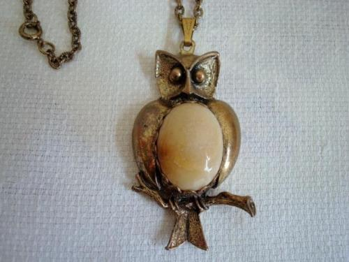 Vintage Gold Tone Owl Pendant Necklace Suwanee River Agatized Coral Dibble
