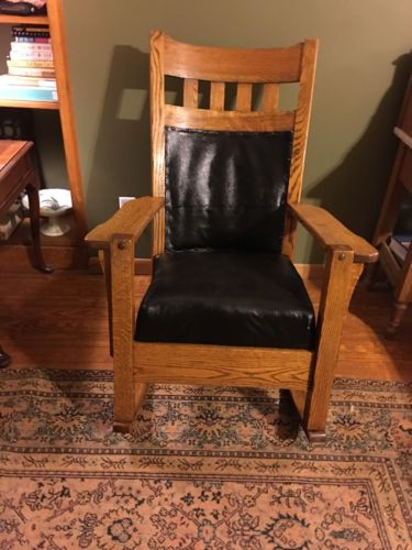 Antique Mission Oak Rocker Rocking Chair Arts And Crafts