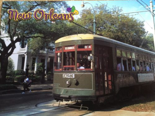 Oversized New Orleans Trolley Car Street Car Downtown Louisiana Postcard