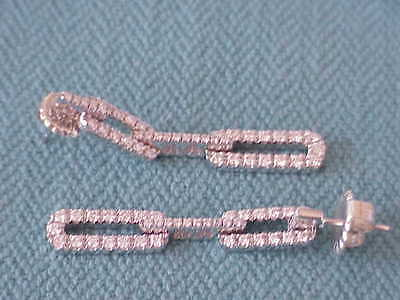 DAMIANI DESIGNER 18K WHITE GOLD 1.50 CT VS1 F DIAMOND  DANGLE EARRINGS