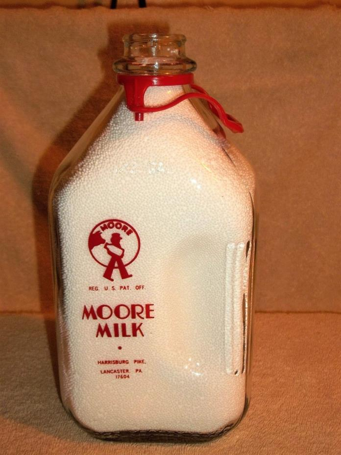 MOORE MILK 1/2 GALLON MILK BOTTLE ~ 1973 ~ LANCASTER, PA.~ RED PYRO GRAPHICS