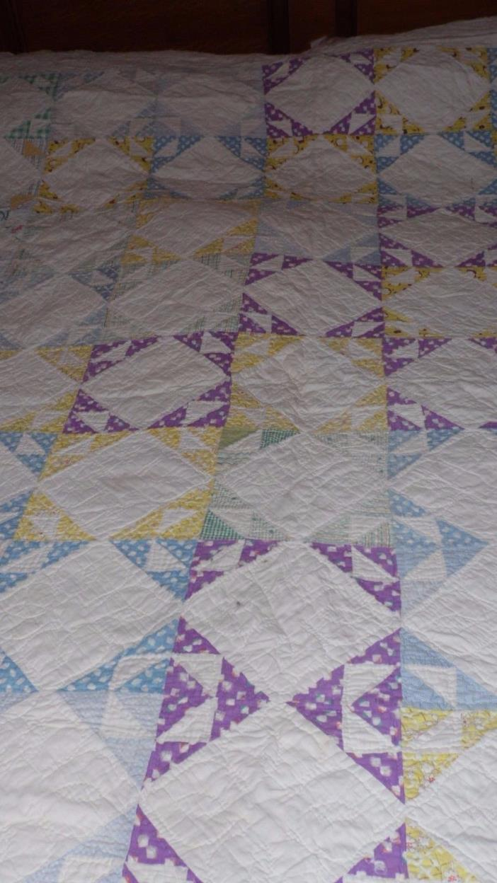 ANTIQUE FULL SIZE FEEDSACK QUILT DIAMONDS SQUARES DESIGN HANDCRAFTED PATCHWORK