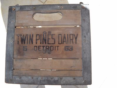 Vintage Twin Pines Dairy Wooden And Metal Milk Crate