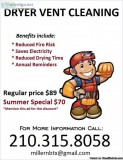 Dryer Vent Cleaning Summer Special (San Antonio and surrounding)