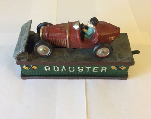 Vintage Cast Iron Working Mechanical Roadster Car Bank Reproduction Unrestored