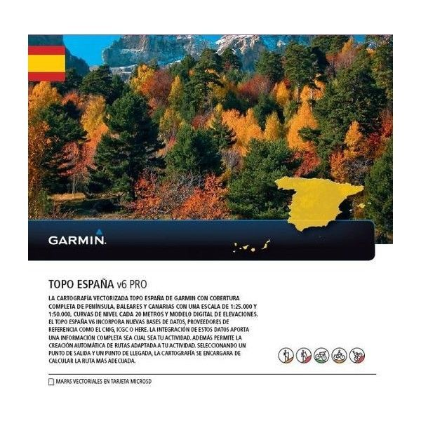 TOPO Spain V6 PRO map card for The entire Spain, for compatible Garmin GPS