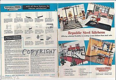1956 REPUBLIC Steel KITCHEN Cabinets Mid Century Modern Design Vintage Catalog