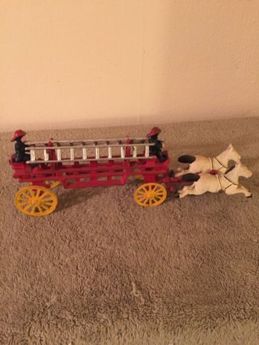 Vintage Cast Horse Drawn Fire Wagon
