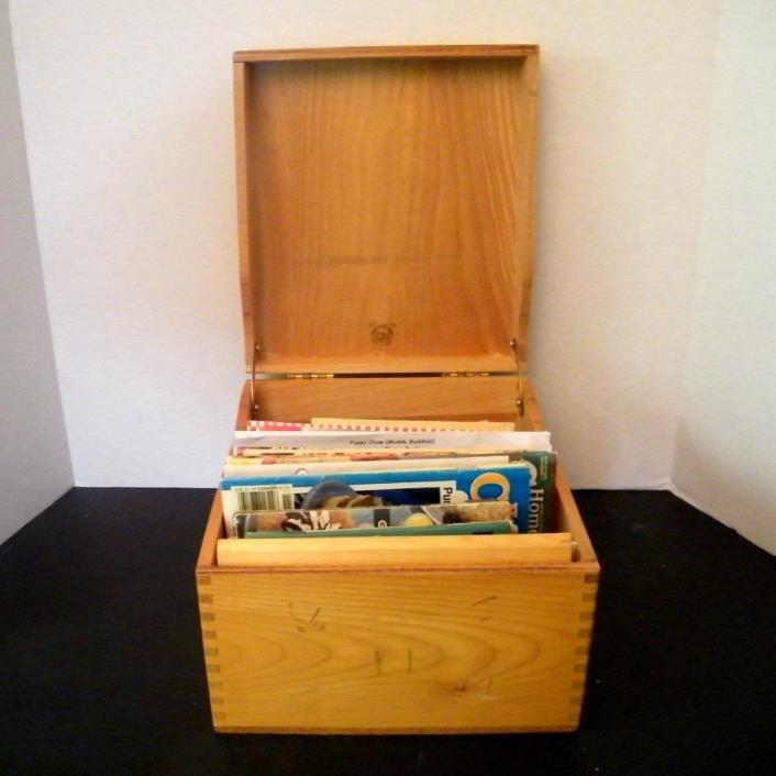 Large Vintage Wood Recipe Box Filled with Vintage Recipe Booklets