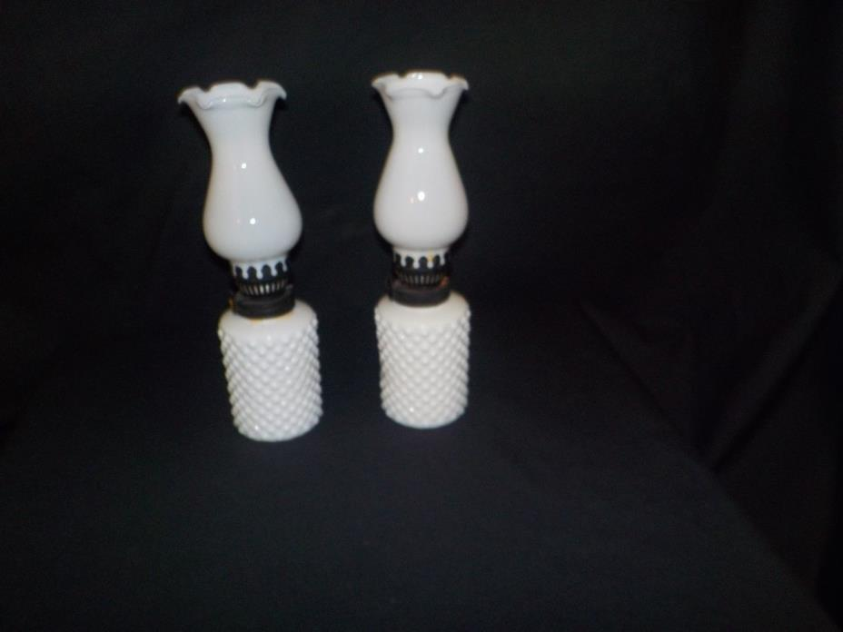 Pair of miniature hobnail milk glass oil lamps
