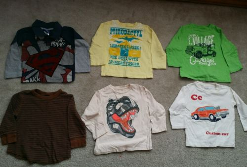 wholesale lot of 6 toddler boy tops size 2T