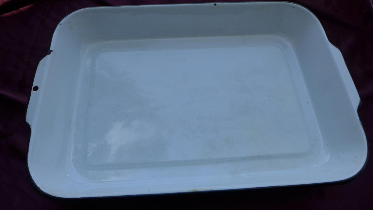 Vintage White Enameled Casserole Plate Dish Baking