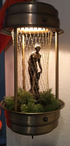 Vintage MINERAL OIL RAIN SWAG LAMP drop drip motion hanging chain light goddess