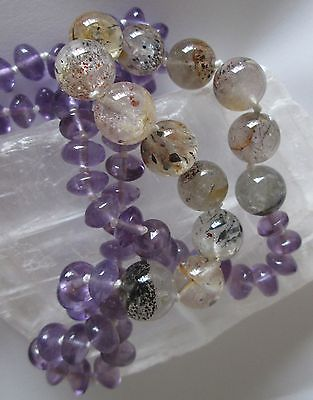 Super Seven 7 Melody's Stone Amethyst Crystal Healing Reiki Knotted Necklace